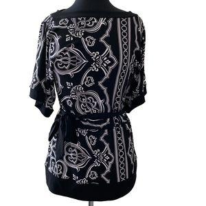 White House Black Market Floral Tie Waist Tunic XS